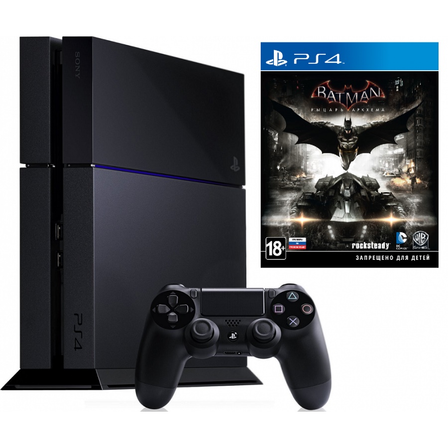 Игровая приставка Sony PlayStation 4 500Gb (Black) + Batman: Arkham Knight title=