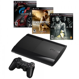 Игровая приставка Sony PS3 Super Slim 500GB (Black) + GT5 + Uncharted 3 + Heavy Rain