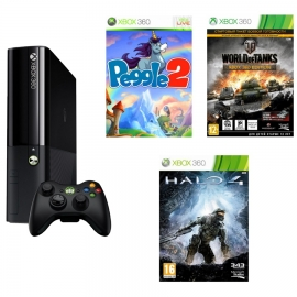 Игровая приставка Microsoft Xbox 360E 4Gb (Black)+ Peggle 2 + World of Tanks + Halo 4